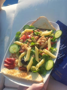 enjoying the sun by the pool with a yummy salad and my favourite book by Cecilia Ahern
