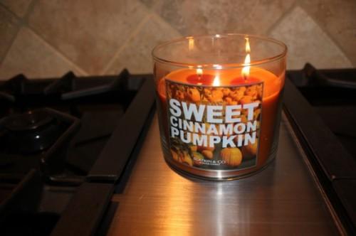 Sweet cinnamon-pumpkin candle by Bath and Bodyworks