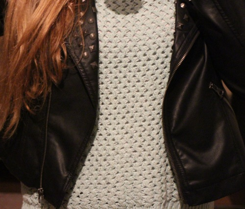 Heavy knit and leather
